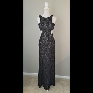 Morgan and Co Black Lace Side Cut Out Sequin Dress